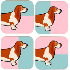 More details for basset hound coasters set of 4 dog lover gift idea modern fun humour