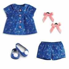 American Girl Melody's Blue Starry Pajamas top Pants Slippers Hair Bows Luciana