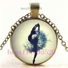 Vintage Dandelion ballet dancer Cabochon Glass Bronze Pendant Necklace