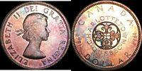 1964 CANADA SILVER $1 DOLLAR BU UNCICULATED COLOR TONED IN HIGH GRADE