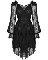 Dark In Love Gothic Lace Evening Dress Black Long Sleeve Witch Vampire Fairy VTG
