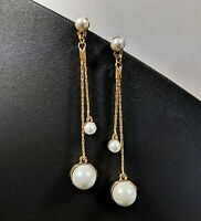 Not yet Vintage Jewellery Ladybug Faux Pearl Hanging Long Stud Earrings