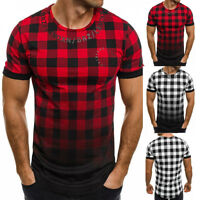 Men's Slim Fit O Neck Short Sleeve Plaids Muscle Tee Shirts T-shirt Casual Tops