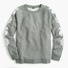 New J.Crew Gray Sweatshirt With Embroidered Flowers Size XS MSRP $79.50