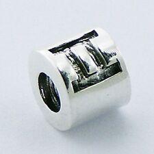 Silver bead zodiac sign Gemini  9mm diameter 925 sterling for charm bracelet
