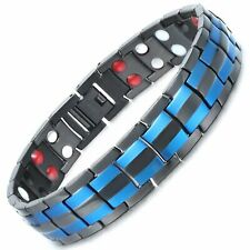 Blue and Black Titanium 4in1 Magnetic Therapy Bracelet Arthritis Pain Relief