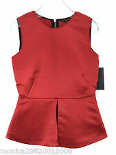 ZARA RED SLEEVELESS TOP BLOUSE WITH PEPLUM FRILL SIZE SMALL