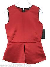 Zara Rojo Camiseta sin mangas Blusa Con Con Sobrefalda talla pequeña