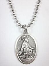 "St Rocco ( Rock Roch ) Medal Italy Pendant 24"" Ball Chain Gift Box & Prayer Card"