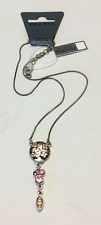 NEW PILGRIM SILVER PLATED NECKLACE SWAROVSKI CRYSTALS FLOWERS DROP PENDANT