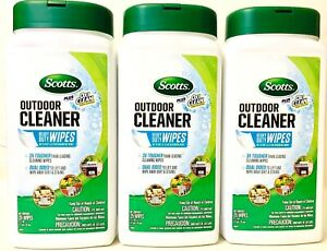 3 Scotts Outdoor Cleaner 3X Tougher Dual Sided Heavy Duty 25 Count Wipes