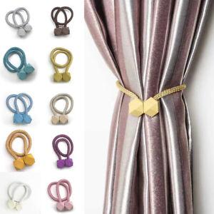 1/2x Strong Magnetic Curtain Tie Backs Buckle Clips Holdbacks Rope Tiebacks Home