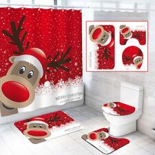 4pcs/set Christmas Bathroom Shower Curtain Toilet Cover Mat Rug Set Waterproof