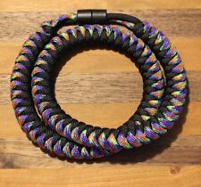 550 Paracord Snake Weave Survival Necklace Mardi Gras / Black (21 inches)