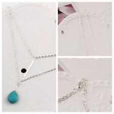Jewelry Gifts Water Drop Turquoise Pendant Multi Layer Necklace Silver Plated