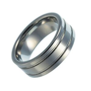 Tungsten Carbide Band Wedding Engagement Ring Polished Grooved Comfort Fit 8mm