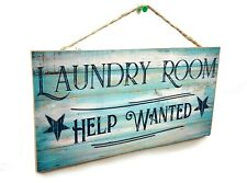Blue Laundry Room Help wanted Rustic Stars Sign Plaque 5x10""