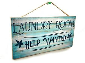 """Blue Laundry Room Help wanted Rustic Stars Sign Plaque 5x10"""""""