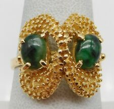 BEAUTIFUL Solid 14k Yellow Gold / Jade Ladies Ring Size 8