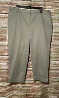 Size 16P | Talbots Perfect Crop Slim Leg Green/Gray Khaki Pants *NEW*