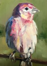 Original ACEO Miniature Oil Painting, Bird, House Finch by Gary Bruton