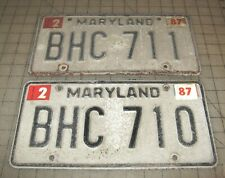 1987 BHC 710 Maryland Matching License Plates in Fair Condition