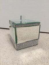 New Bella Lux Mirrored Glass Rhinestones Canister Jar Container Bathroom Decor