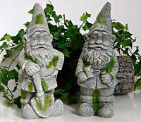 2 Garden Gnome Elf Statue Cement Concrete Yard Garden Decoration Ornament Sturdy