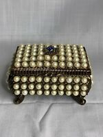 Vintage Musical Jewelry Box Covered W/ Pearls Plays Blue Canary Works!