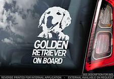 Golden Retriever - Car Window Sticker - Gun Dog on Board Sign Art Gift - TYP1