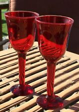 """2 Ruby red hand blown wine water glass silver crest rim approx. 8 1/2"""" RARE 8.5"""