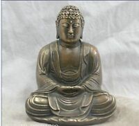 Chinese OLD Folk Culture Handmade Brass Bronze Sakyamuni Buddha Sculpture AS445
