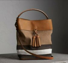 Nwt Burberry Ashby check tassel hobo tote Medium crossbody bag brown