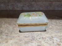 Vintage White Satin Glass Hinged Trinket Box Floral Jewelry
