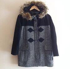 ASOS Navy Duffle Coat. UK 6. (Faux, Fur, Winter, Hooded, Long Sleeeve, Zip)