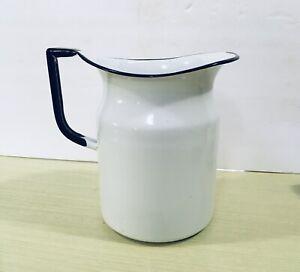Vintage Original Farmhouse White Black Trim Cream Milk Pitcher Enamelware Handle