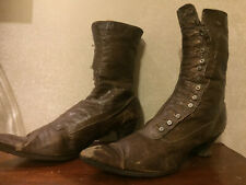 Brown leather Very old antique ladies boots