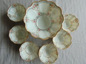 7 pc Antique Nippon Morimura Hand Painted Gold Trim Footed Berry Nut Bowl Set