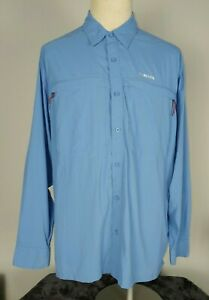 SIMMS Stone Cold Fly Fishing Button Down LS Shirt Cor3 River Blue Mens L