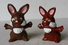 Bunny Rabbit Figures Set of 2 Ceramic-Porcelain Hand Painted Playful Poses-Cute