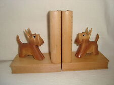 Pr. Vintage Wooden Bookends - Carved Scotty / Scottie Dogs