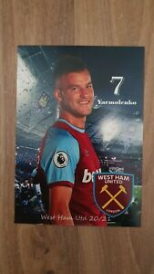 West Ham - Yarmolenko - Autograph Card 20-21