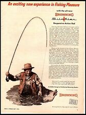 1963 Browning SilaFlex Fly Rod Fishing Netting Catch Waders Vintage Print Ad