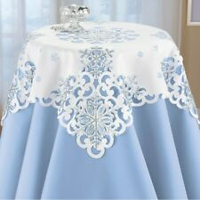 Beautiful Embroidered Sequin Snowflakes Polyester Square Tablecloth