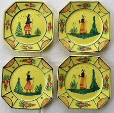 "4 Vtg HB QUIMPER France 10"" Yellow Soleil DINNER PLATES Remarkable MUST SEE !"