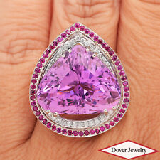 Estate Diamond 28.04ct Kunzite Ruby 18K Gold Large Halo Cocktail Ring 16.8 Gr NR