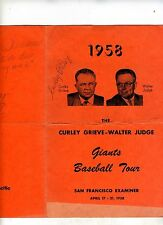 Sf Giants 1958 Curley Grieve-Baseball Tour Menu-Many Autographs-Historic Rare