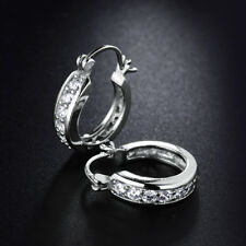 Stunning Silver 18K White Gold Filled Dangle Huggie Diamond Women Party Earrings