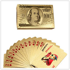 Funny 24K Sets Foil Plated Gift Playing Cards Game Poker Dollar USD Deck Toys