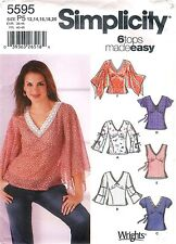 Simplicity 5595 Sewing Pattern Misses Pullover Top w Sleeve Factory Folded Uncut